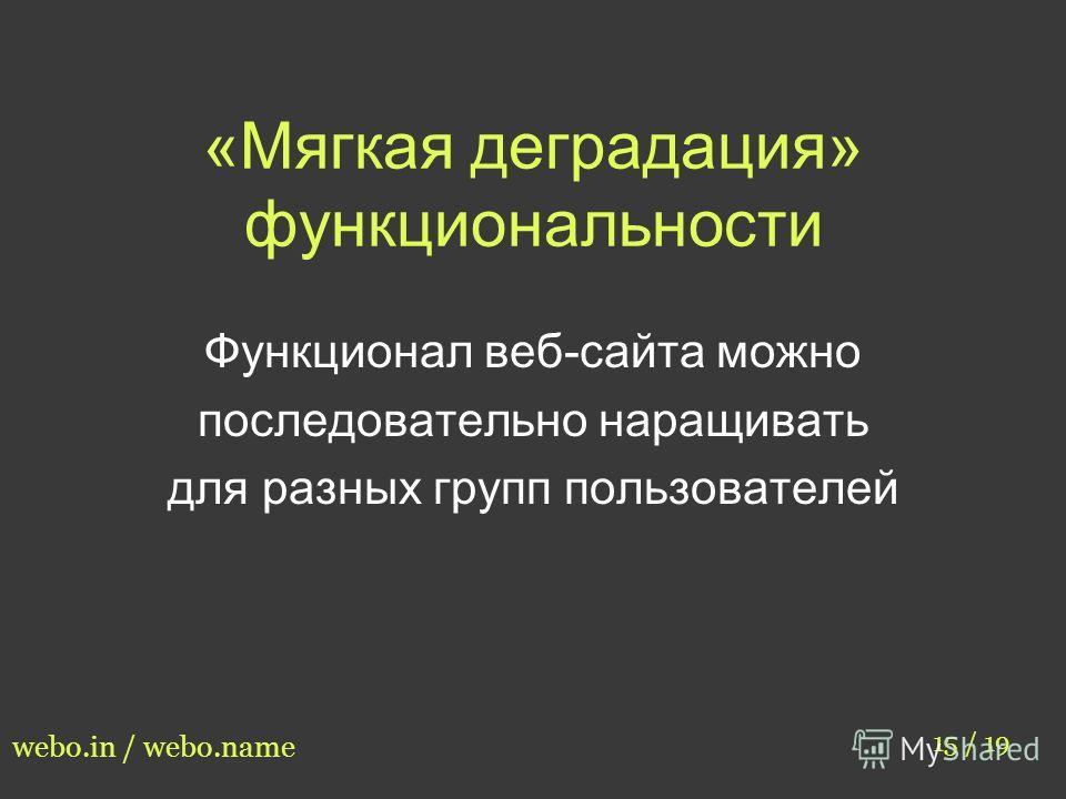 «Мягкая деградация» функциональности 15 / 19 webo.in / webo.name Функционал веб-сайта можно последовательно наращивать для разных групп пользователей