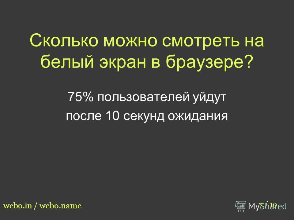 Сколько можно смотреть на белый экран в браузере? 7 / 19 webo.in / webo.name 75% пользователей уйдут после 10 секунд ожидания