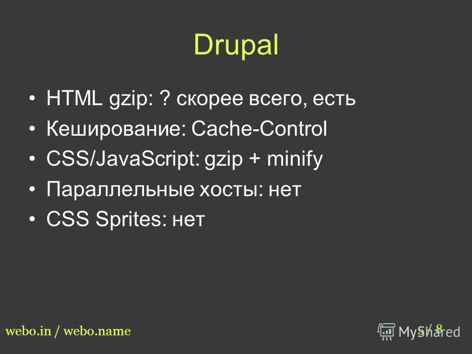 Drupal HTML gzip: ? скорее всего, есть Кеширование: Cache-Control CSS/JavaScript: gzip + minify Параллельные хосты: нет CSS Sprites: нет 5 / 8 webo.in / webo.name