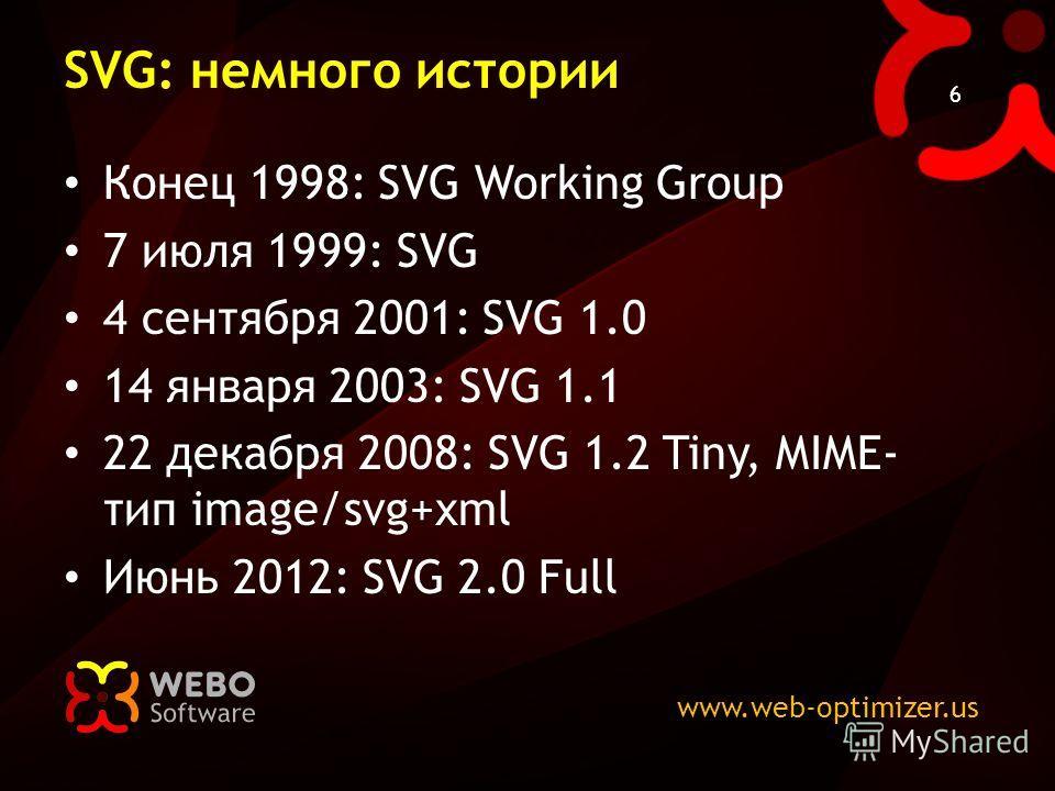 www.web-optimizer.us 6 SVG: немного истории Конец 1998: SVG Working Group 7 июля 1999: SVG 4 сентября 2001: SVG 1.0 14 января 2003: SVG 1.1 22 декабря 2008: SVG 1.2 Tiny, MIME- тип image/svg+xml Июнь 2012: SVG 2.0 Full