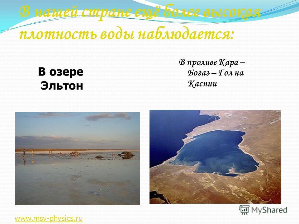 В нашей стране ещё более высокая плотность воды наблюдается: В проливе Кара – Богаз – Гол на Каспии В озере Эльтон www.msv-physics.ru