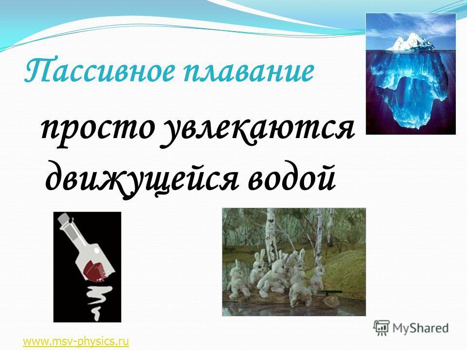 Пассивное плавание просто увлекаются движущейся водой просто увлекаются движущейся водой www.msv-physics.ru