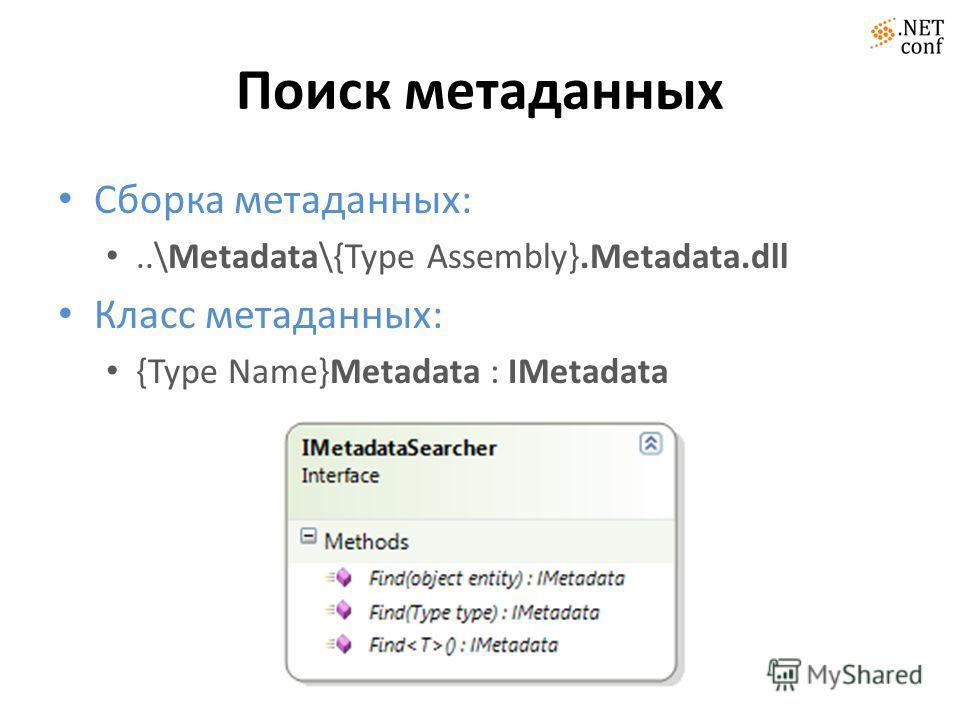 Поиск метаданных Сборка метаданных:..\Metadata\{Type Assembly}.Metadata.dll Класс метаданных: {Type Name}Metadata : IMetadata