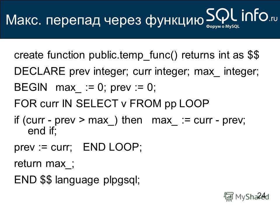 24 Макс. перепад через функцию create function public.temp_func() returns int as $$ DECLAREprev integer; curr integer; max_ integer; BEGINmax_ := 0;prev := 0; FOR curr IN SELECT v FROM ppLOOP if (curr - prev > max_) thenmax_ := curr - prev; end if; p