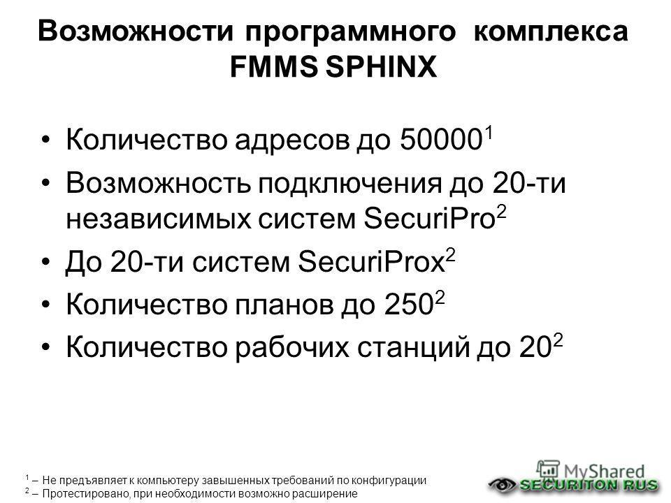 Количество адресов до 50000 1 Возможность подключения до 20-ти независимых систем SecuriPro 2 До 20-ти систем SecuriProx 2 Количество планов до 250 2 Количество рабочих станций до 20 2 1 – Не предъявляет к компьютеру завышенных требований по конфигур