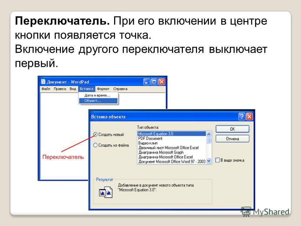 Переключатель. При его включении в центре кнопки появляется точка. Включение другого переключателя выключает первый.