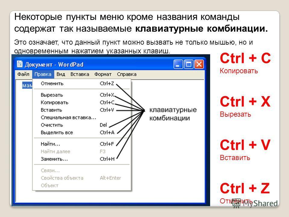 Некоторые пункты меню кроме названия команды содержат так называемые клавиатурные комбинации. Это означает, что данный пункт можно вызвать не только мышью, но и одновременным нажатием указанных клавиш. Ctrl + C Копировать Ctrl + X Вырезать Ctrl + V В