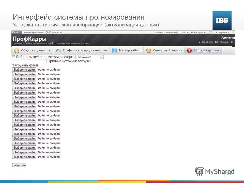 21 Интерфейс системы прогнозирования Загрузка статистической информации (актуализация данных)