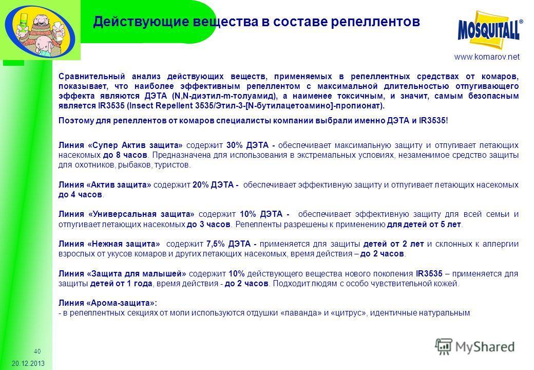 www.komarov.net 20.12.2013 40 Сравнительный анализ действующих веществ, применяемых в репеллентных средствах от комаров, показывает, что наиболее эффективным репеллентом с максимальной длительностью отпугивающего эффекта являются ДЭТА (N,N-диэтил-m-т