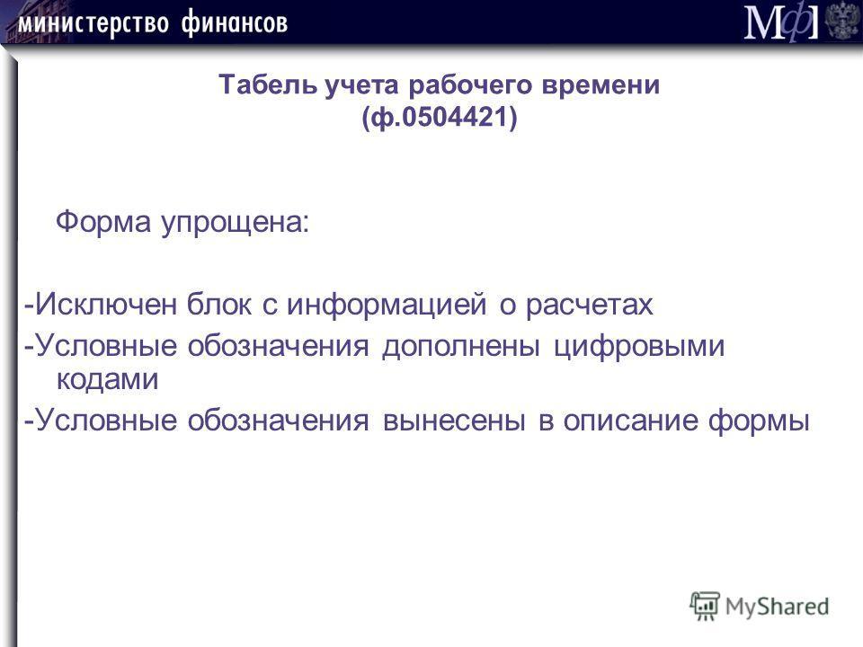 Табель учета рабочего времени (ф.0504421) Форма упрощена: -Исключен блок с информацией о расчетах -Условные обозначения дополнены цифровыми кодами -Условные обозначения вынесены в описание формы