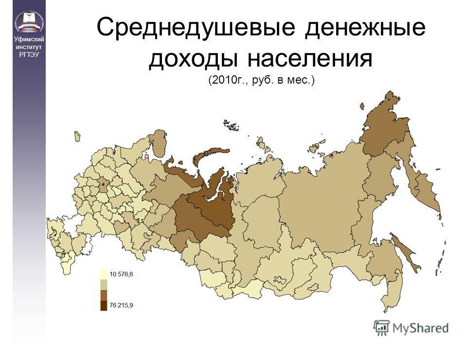 Среднедушевые денежные доходы населения (2010г., руб. в мес.) Уфимский институт РГТЭУ