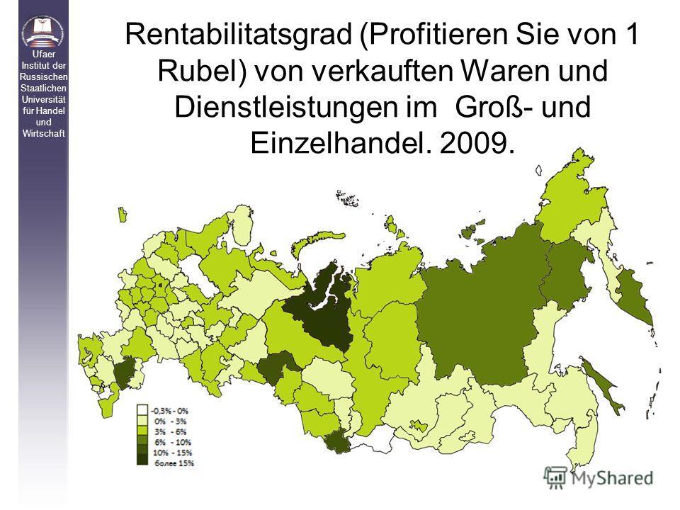 Rentabilitatsgrad (Profitieren Sie von 1 Rubel) von verkauften Waren und Dienstleistungen im Groß- und Einzelhandel. 2009. Ufaer Institut der Russischen Staatlichen Universität für Handel und Wirtschaft