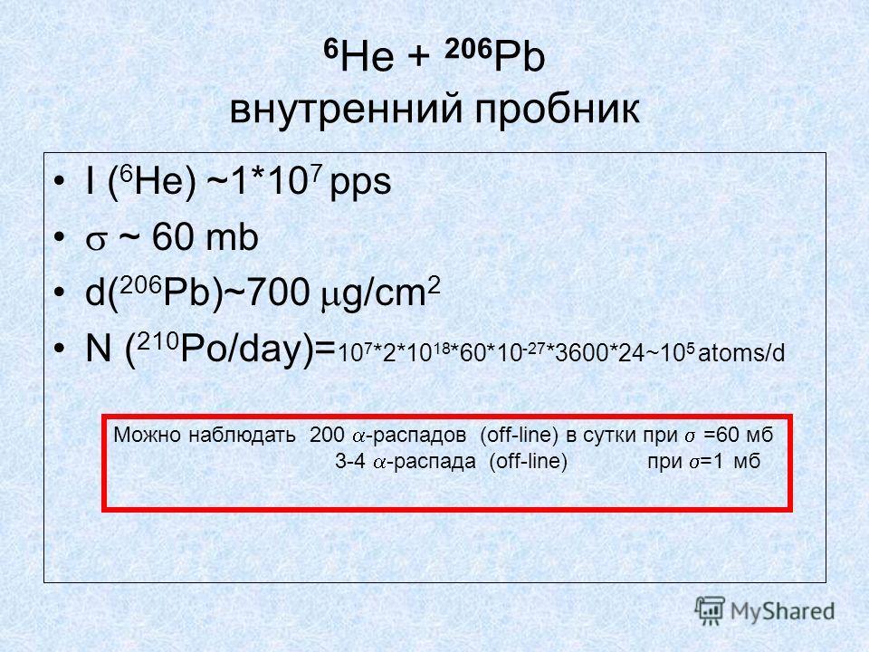 6 He + 206 Pb внутренний пробник I ( 6 He) ~1*10 7 pps ~ 60 mb d( 206 Pb)~700 g/cm 2 N ( 210 Po/day)= 10 7 *2*10 18 *60*10 -27 *3600*24~10 5 atoms/d Можно наблюдать 200 -распадов (off-line) в сутки при =60 мб 3-4 -распада (off-line) при =1 мб