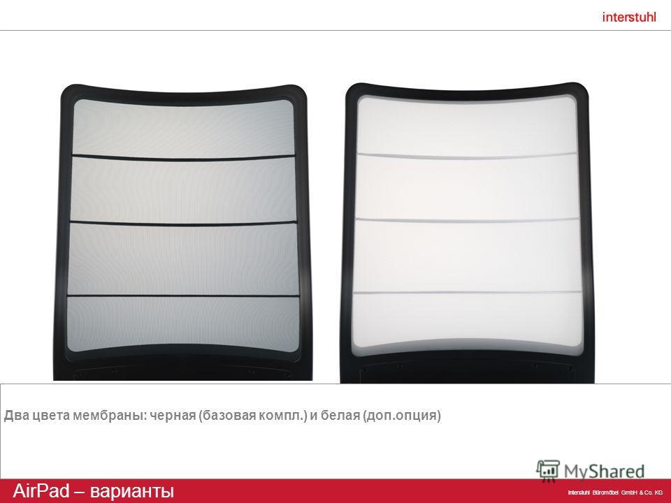 Interstuhl Büromöbel GmbH & Co. KG AirPad – варианты Два цвета мембраны: черная (базовая компл.) и белая (доп.опция)
