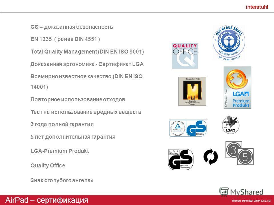 Interstuhl Büromöbel GmbH & Co. KG GS – доказанная безопасность EN 1335 ( ранее DIN 4551 ) Total Quality Management (DIN EN ISO 9001) Доказанная эргономика - Сертификат LGA Всемирно известное качество (DIN EN ISO 14001) Повторное использование отходо