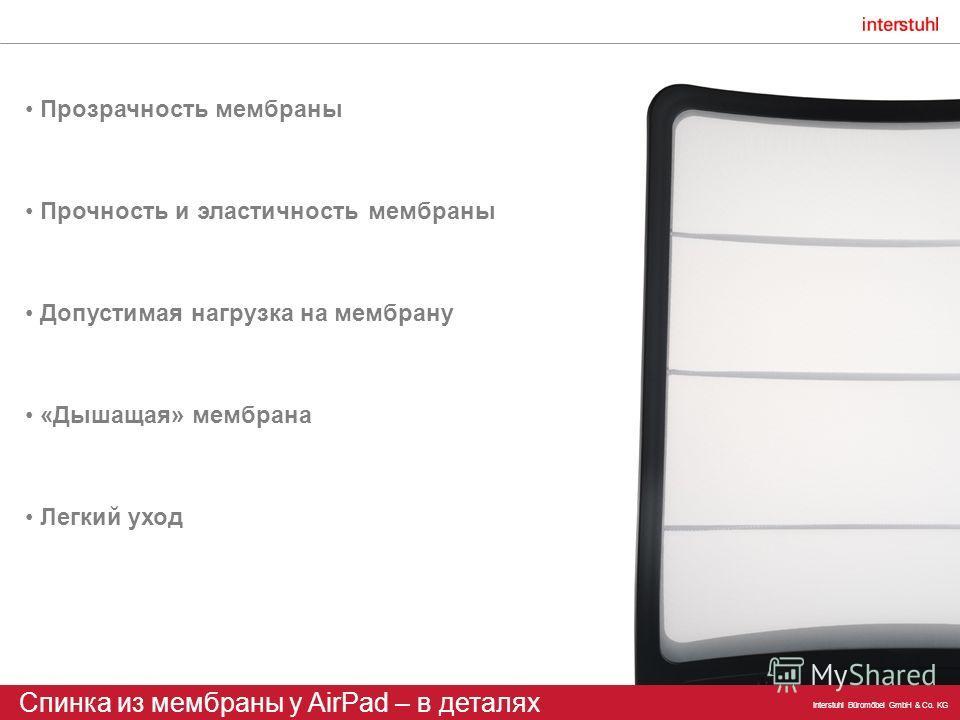 Interstuhl Büromöbel GmbH & Co. KG Прозрачность мембраны Спинка из мембраны у AirPad – в деталях «Дышащая» мембрана Прочность и эластичность мембраны Легкий уход Допустимая нагрузка на мембрану