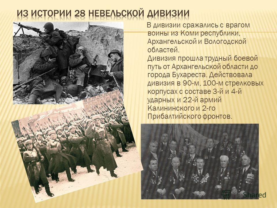 В дивизии сражались с врагом воины из Коми республики, Архангельской и Вологодской областей. Дивизия прошла трудный боевой путь от Архангельской области до города Бухареста. Действовала дивизия в 90-м, 100-м стрелковых корпусах с составе 3-й и 4-й уд