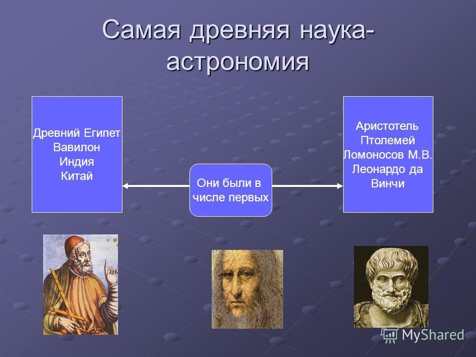 Самая древняя наука- астрономия Они были в числе первых Древний Египет Вавилон Индия Китай Аристотель Птолемей Ломоносов М.В. Леонардо да Винчи