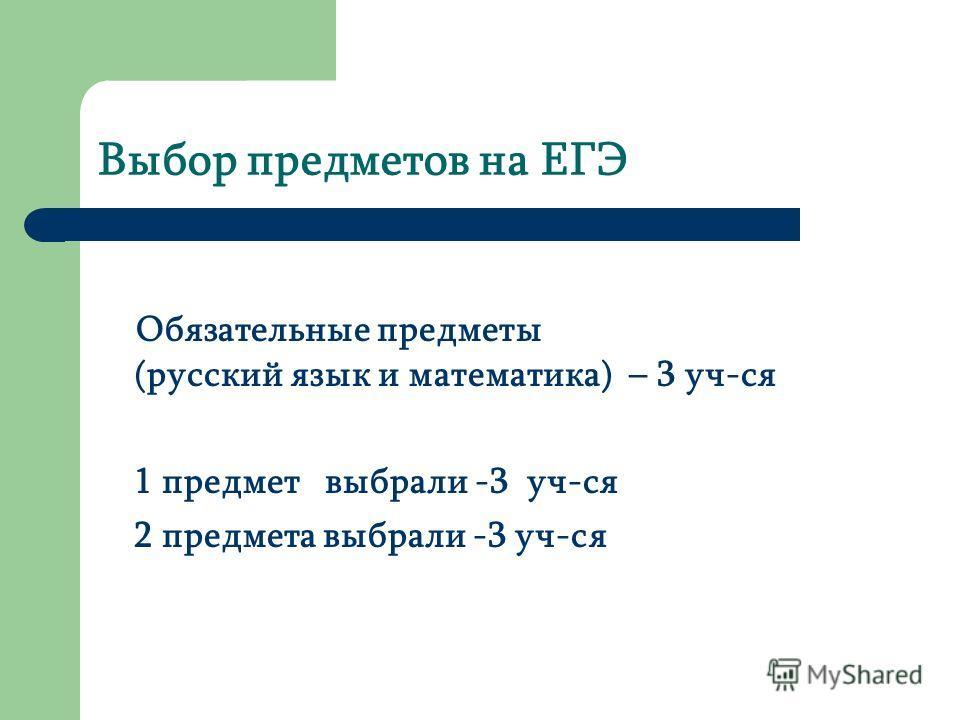 Выбор предметов на ЕГЭ Обязательные предметы (русский язык и математика) – 3 уч-ся 1 предмет выбрали -3 уч-ся 2 предмета выбрали -3 уч-ся
