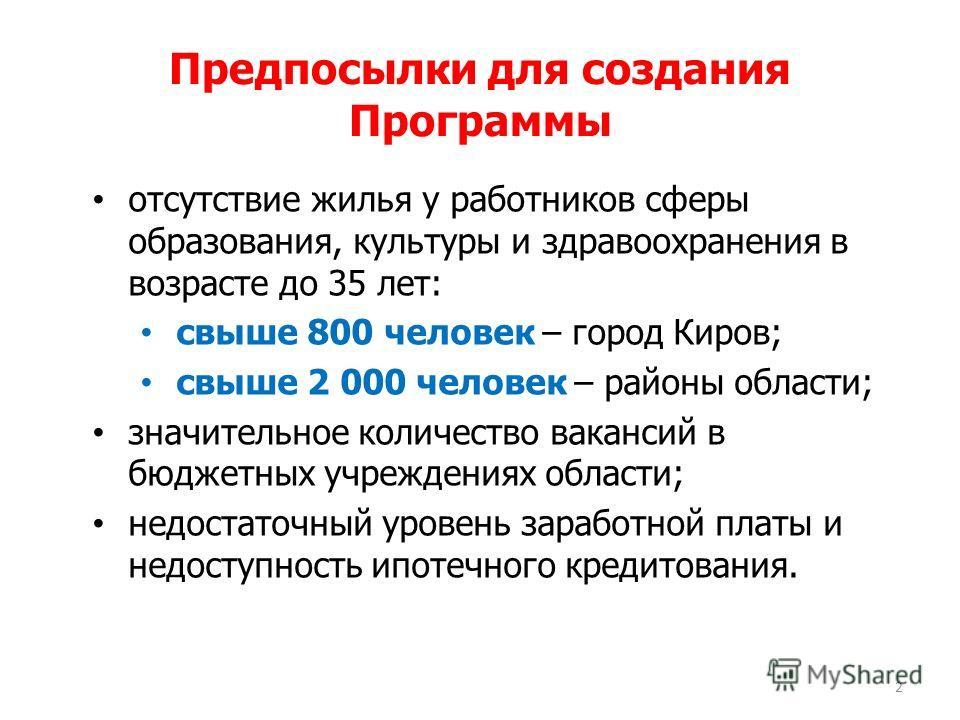 Предпосылки для создания Программы отсутствие жилья у работников сферы образования, культуры и здравоохранения в возрасте до 35 лет: свыше 800 человек – город Киров; свыше 2 000 человек – районы области; значительное количество вакансий в бюджетных у