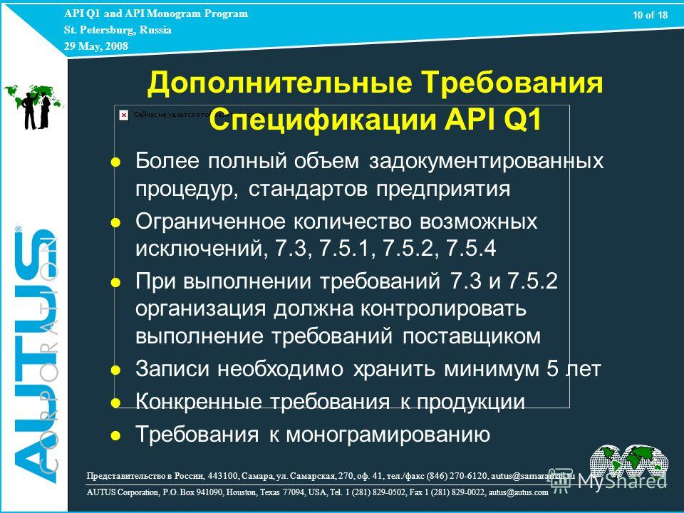API Q1 and API Monogram Program St. Petersburg, Russia 29 May, 2008 AUTUS Corporation, P.O. Box 941090, Houston, Texas 77094, USA, Tel. 1 (281) 829-0502, Fax 1 (281) 829-0022, autus@autus.com Более полный объем задокументированных процедур, стандарто