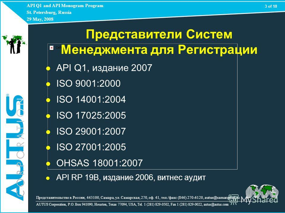 API Q1 and API Monogram Program St. Petersburg, Russia 29 May, 2008 AUTUS Corporation, P.O. Box 941090, Houston, Texas 77094, USA, Tel. 1 (281) 829-0502, Fax 1 (281) 829-0022, autus@autus.com API Q1, издание 2007 ISO 9001:2000 ISO 14001:2004 ISO 1702