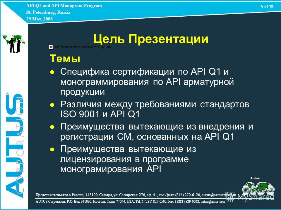API Q1 and API Monogram Program St. Petersburg, Russia 29 May, 2008 AUTUS Corporation, P.O. Box 941090, Houston, Texas 77094, USA, Tel. 1 (281) 829-0502, Fax 1 (281) 829-0022, autus@autus.com 6 of 18 Представительство в России, 443100, Самара, ул. Са
