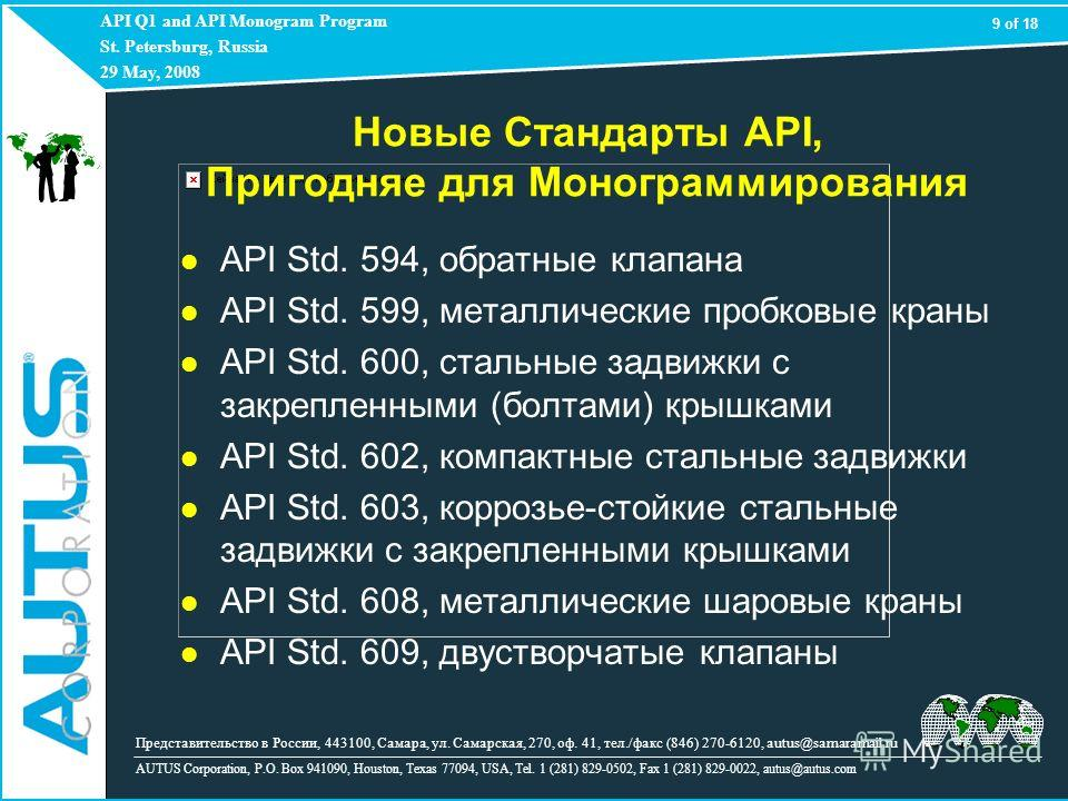 API Q1 and API Monogram Program St. Petersburg, Russia 29 May, 2008 AUTUS Corporation, P.O. Box 941090, Houston, Texas 77094, USA, Tel. 1 (281) 829-0502, Fax 1 (281) 829-0022, autus@autus.com 9 of 18 Представительство в России, 443100, Самара, ул. Са