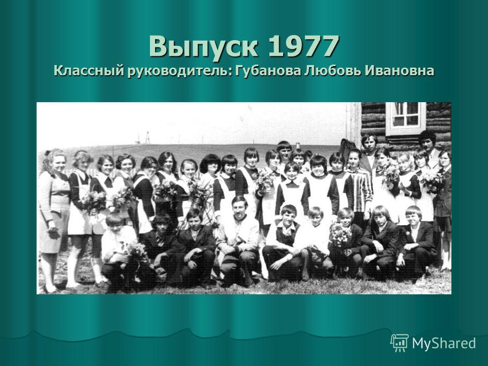 Выпуск 1977 Классный руководитель: Губанова Любовь Ивановна