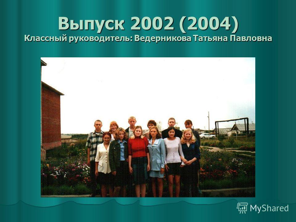 Выпуск 2002 (2004) Классный руководитель: Ведерникова Татьяна Павловна