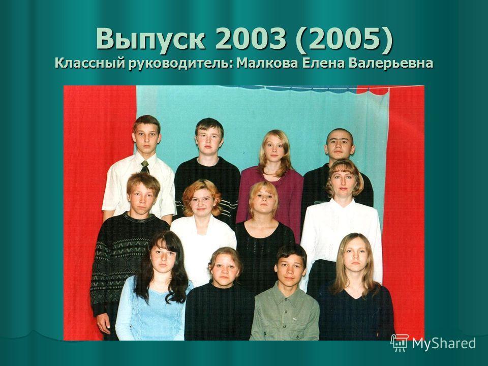 Выпуск 2003 (2005) Классный руководитель: Малкова Елена Валерьевна