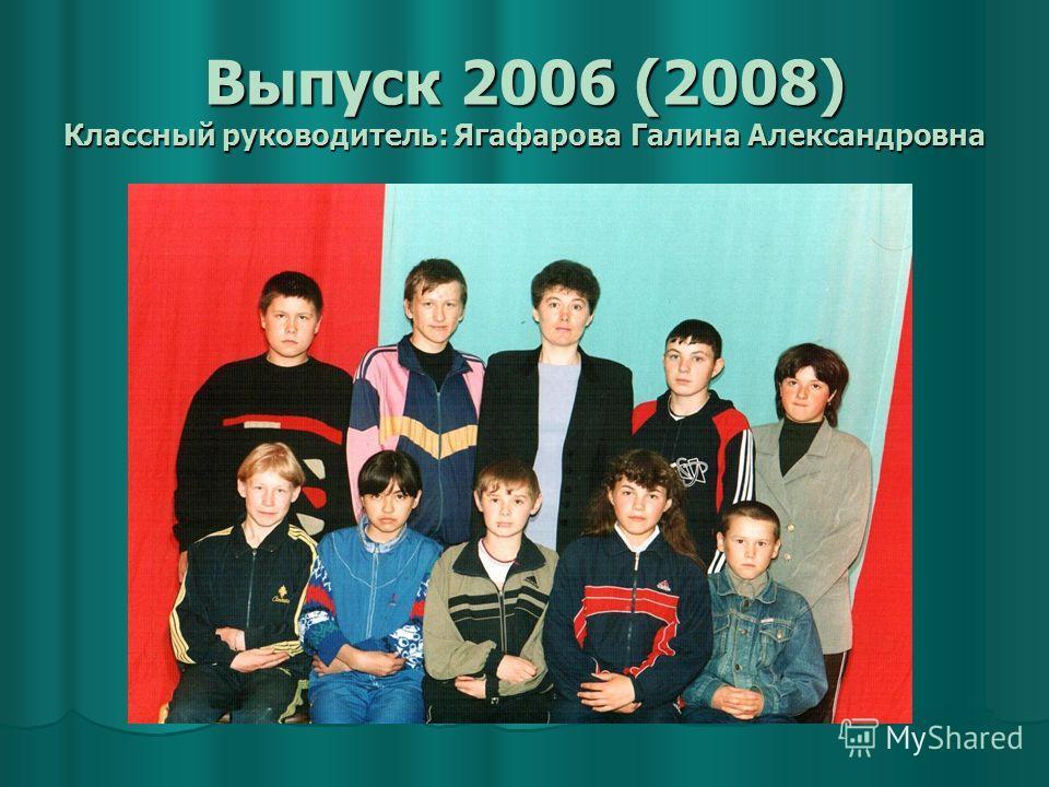 Выпуск 2006 (2008) Классный руководитель: Ягафарова Галина Александровна