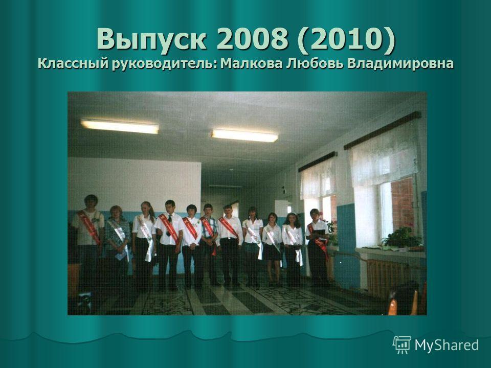 Выпуск 2008 (2010) Классный руководитель: Малкова Любовь Владимировна