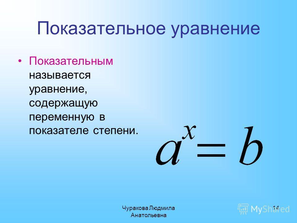 Чуракова Людмила Анатольевна 14 Показательное уравнение Показательным называется уравнение, содержащую переменную в показателе степени.