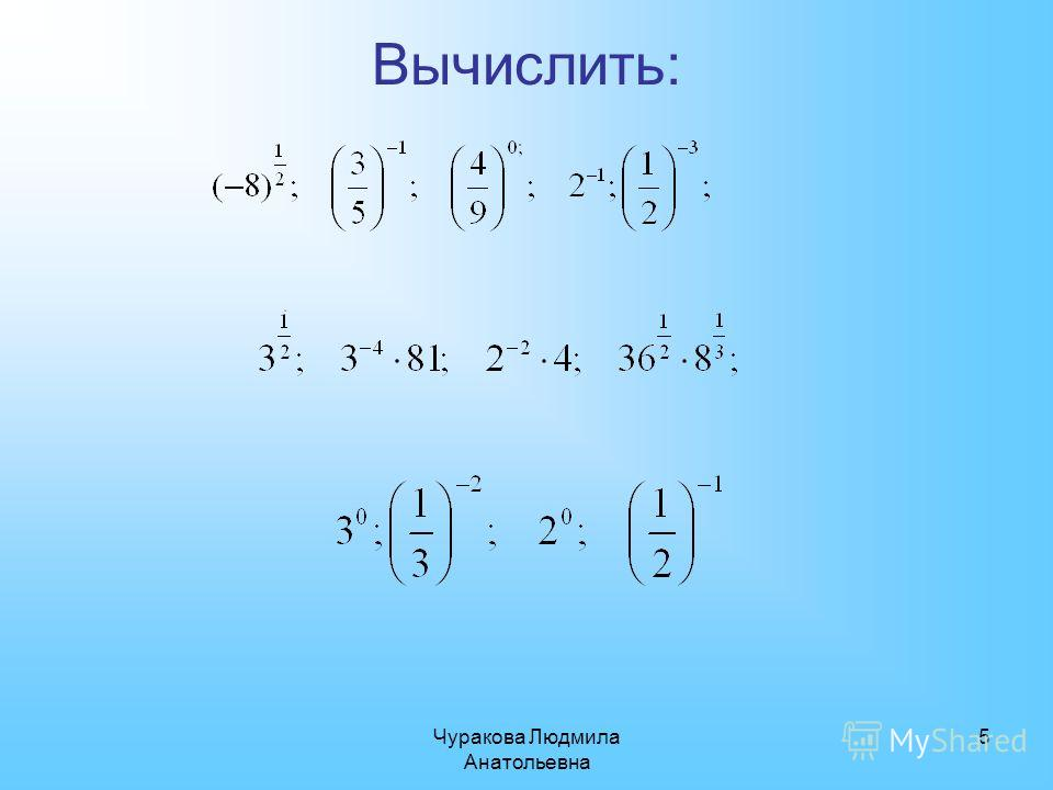 Чуракова Людмила Анатольевна 5 Вычислить: