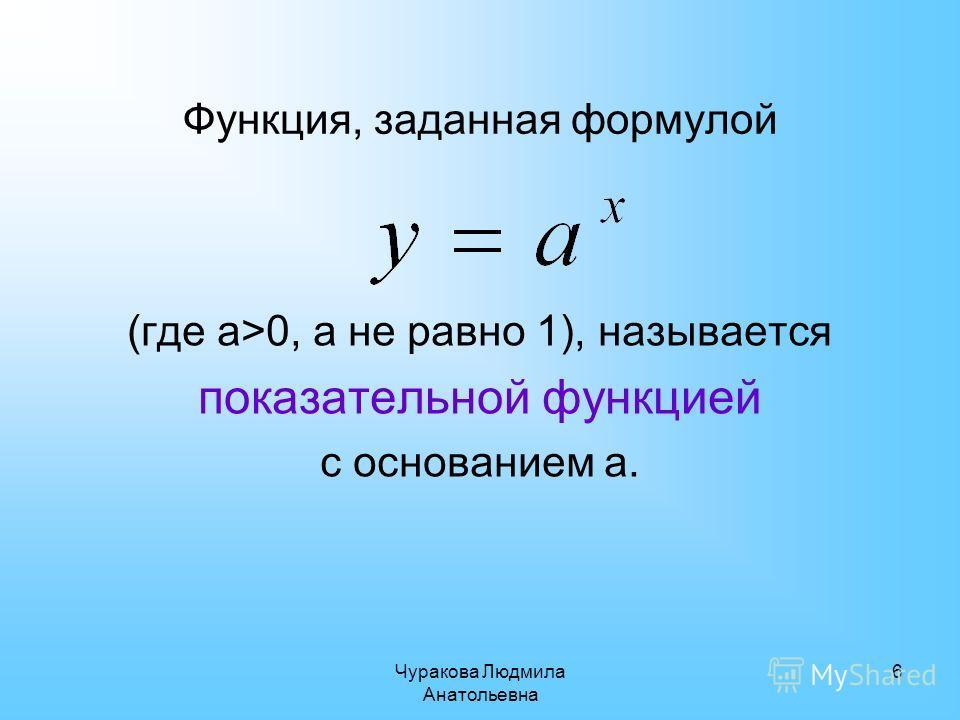 Чуракова Людмила Анатольевна 6 Функция, заданная формулой (где а>0, а не равно 1), называется показательной функцией с основанием а.