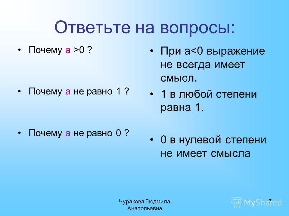 Чуракова Людмила Анатольевна 7 Ответьте на вопросы: При а0 ? Почему а не равно 1 ? Почему а не равно 0 ?