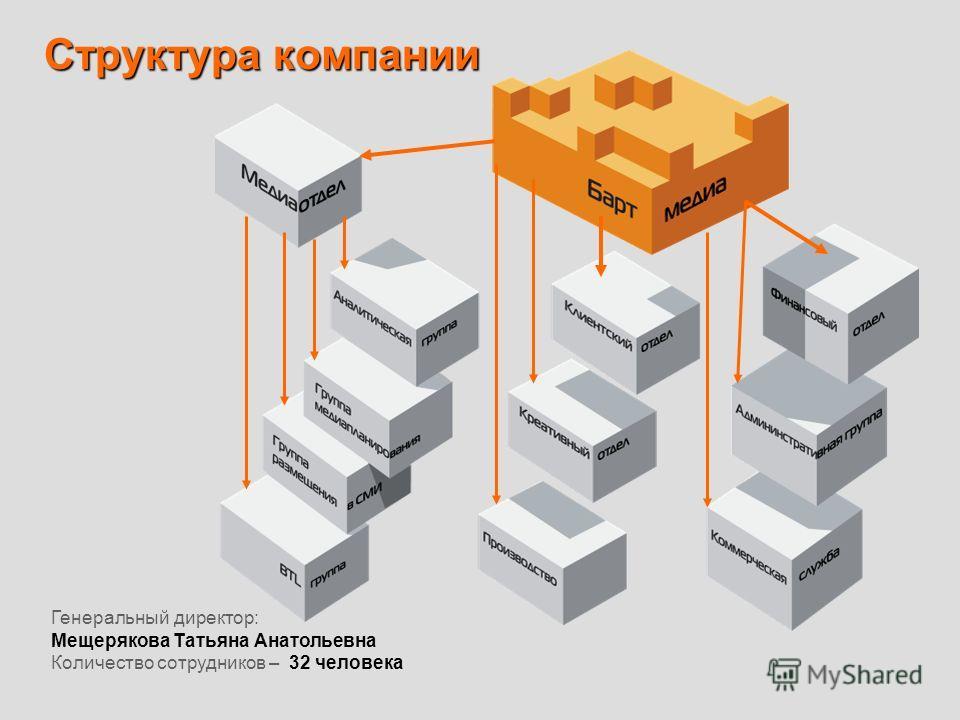 Структура компании Генеральный директор: Мещерякова Татьяна Анатольевна Количество сотрудников – 32 человека