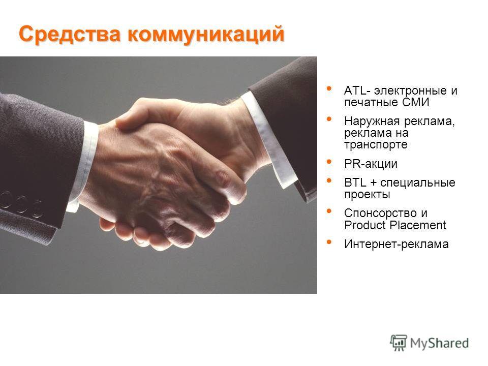 Средства коммуникаций ATL- электронные и печатные СМИ Наружная реклама, реклама на транспорте PR-акции BTL + специальные проекты Спонсорство и Product Placement Интернет-реклама