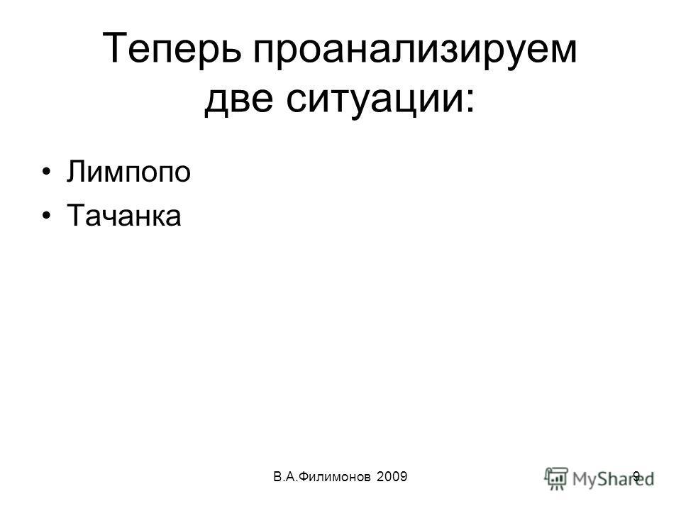 Теперь проанализируем две ситуации: Лимпопо Тачанка В.А.Филимонов 20099