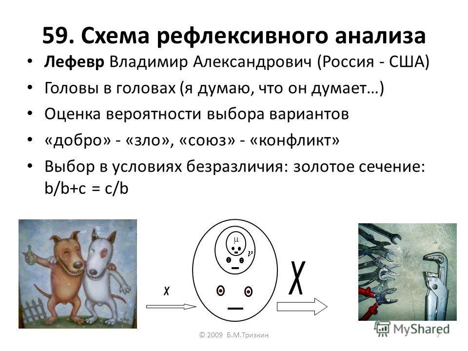 59. Схема рефлексивного анализа Лефевр Владимир Александрович (Россия - США) Головы в головах (я думаю, что он думает…) Оценка вероятности выбора вариантов «добро» - «зло», «союз» - «конфликт» Выбор в условиях безразличия: золотое сечение: b/b+c = c/