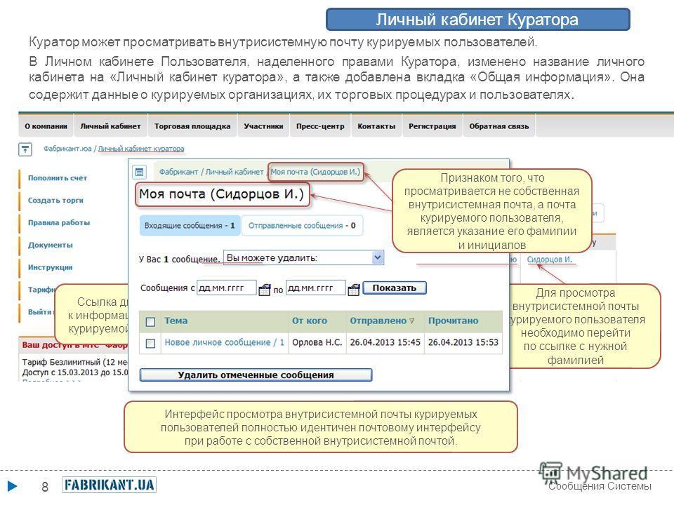 8 Сообщения Системы Личный кабинет Куратора Куратор может просматривать внутрисистемную почту курируемых пользователей. В Личном кабинете Пользователя, наделенного правами Куратора, изменено название личного кабинета на «Личный кабинет куратора», а т
