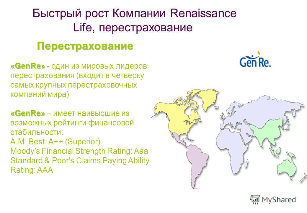 Быстрый рост Компании Renaissance Life, перестрахование Перестрахование «GenRe» «GenRe» - один из мировых лидеров перестрахования (входит в четверку самых крупных перестраховочных компаний мира) «GenRe» «GenRe» – имеет наивысшие из возможных рейтинги