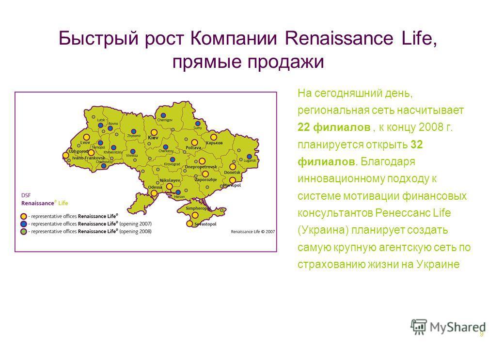 9 Быстрый рост Компании Renaissance Life, прямые продажи На сегодняшний день, региональная сеть насчитывает 22 филиалов, к концу 2008 г. планируется открыть 32 филиалов. Благодаря инновационному подходу к системе мотивации финансовых консультантов Ре