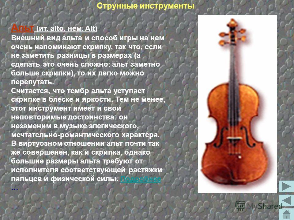 Виолончель (ит. violoncello) Виолончель вошла в музыкальный быт во второй половине 16 века. Своим созданием она обязана искусству таких выдающихся инструментальных мастеров, как Маджини, Гаспаро де Сало, а позже - Амати и Страдивари. Как и альт, виол