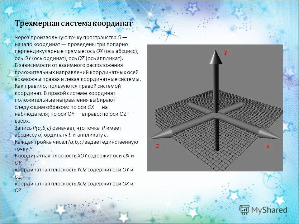 Трехмерная система координат Через произвольную точку пространства O начало координат проведены три попарно перпендикулярные прямые: ось OX (ось абсцисс), ось OY (ось ординат), ось OZ (ось аппликат). В зависимости от взаимного расположения положитель