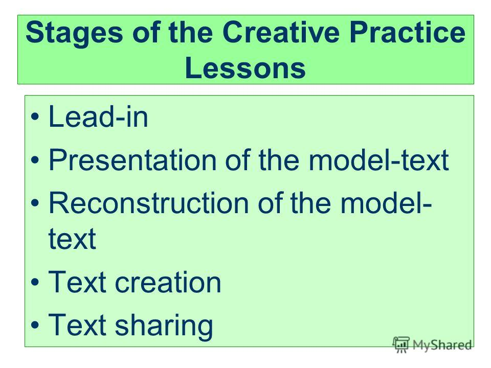 Stages of the Creative Practice Lessons Lead-in Presentation of the model-text Reconstruction of the model- text Text creation Text sharing