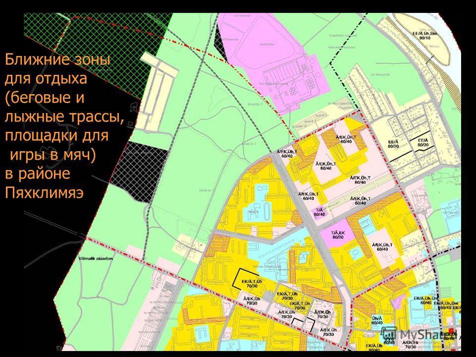 Ближние зоны для отдыха (беговые и лыжные трассы, площадки для игры в мяч) в районе Пяхклимяэ