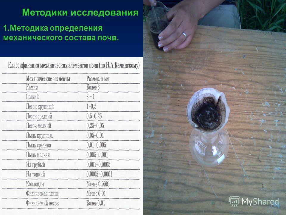 Методики исследования 1.Методика определения механического состава почв.
