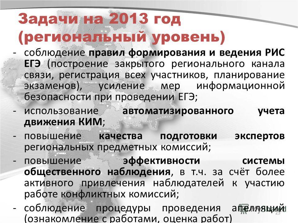 Задачи на 2013 год (региональный уровень) -соблюдение правил формирования и ведения РИС ЕГЭ (построение закрытого регионального канала связи, регистрация всех участников, планирование экзаменов), усиление мер информационной безопасности при проведени